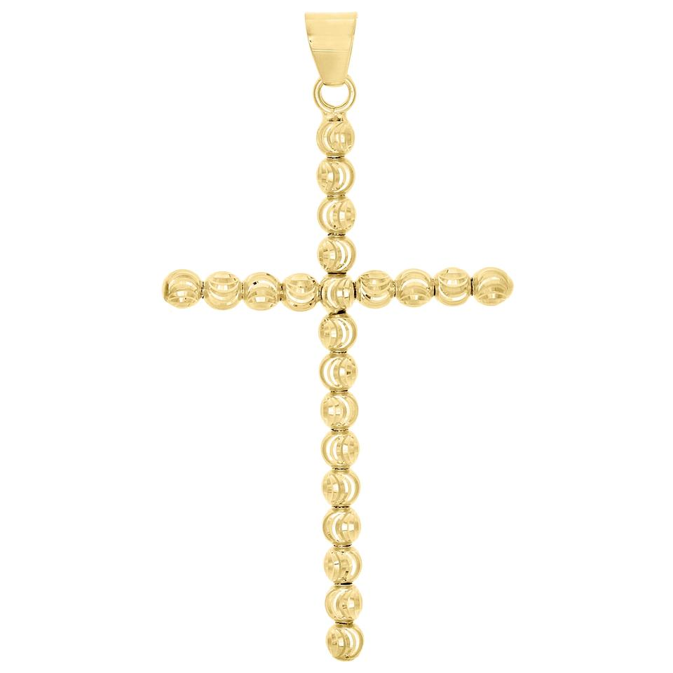 Jewelry for less yellow gold 10k 4mm diamond cut cross beaded moon jewelry for less 10k yellow gold 4mm diamond cut cross beaded moon cut pendant charm biocorpaavc Images