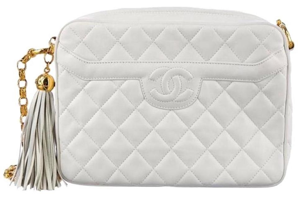 c88a639657bf Chanel Camera Vintage Quilted Classic Timeless Jumbo Cc Tassel Fringe  Bijoux White Ivory Lambskin Leather Cross Body Bag