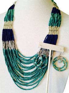 2 Piece Set Shades Of Blue Seed Bead Long Necklace & Earrings