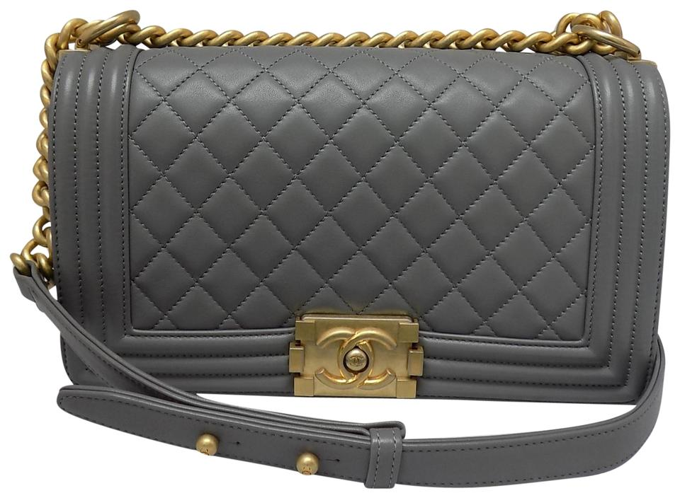 8fc7145b3bb4c2 Chanel Boy Quilted Le Gray Calfskin Leather Cross Body Bag - Tradesy