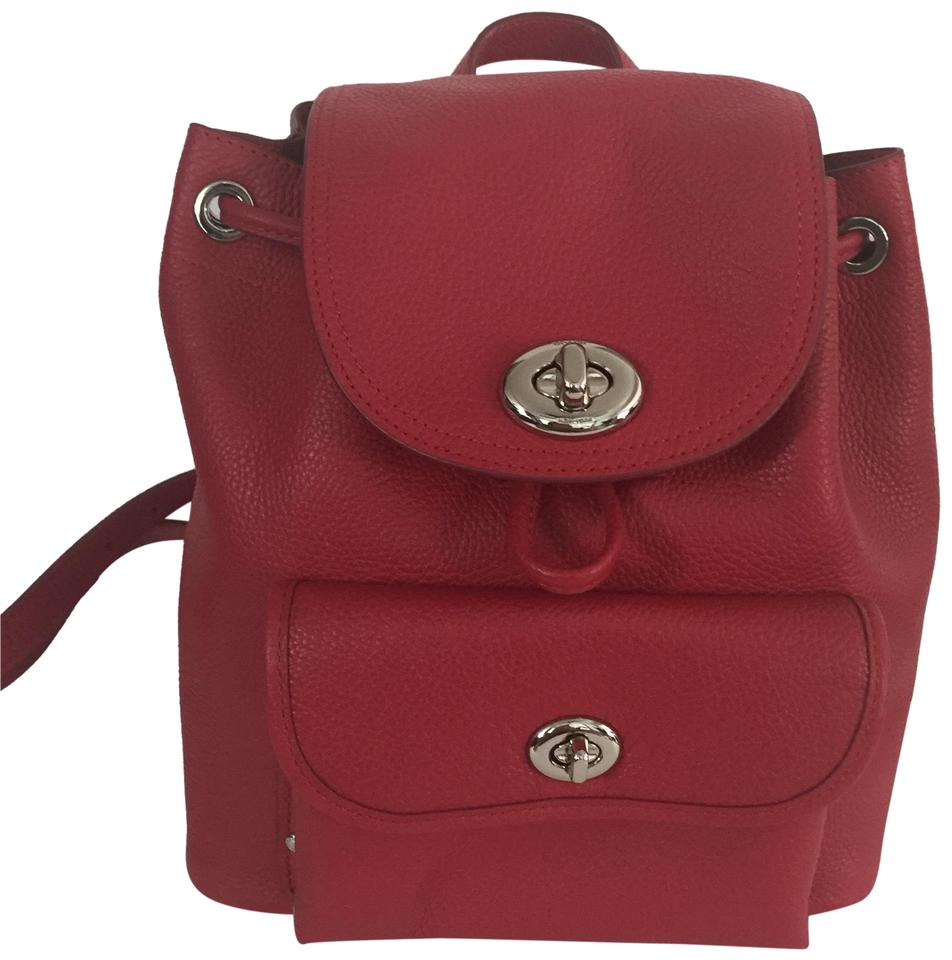 80a8cd964 Coach Saddle Saddle Pebble Mini Turnlock Rucksack Red Leather Backpack