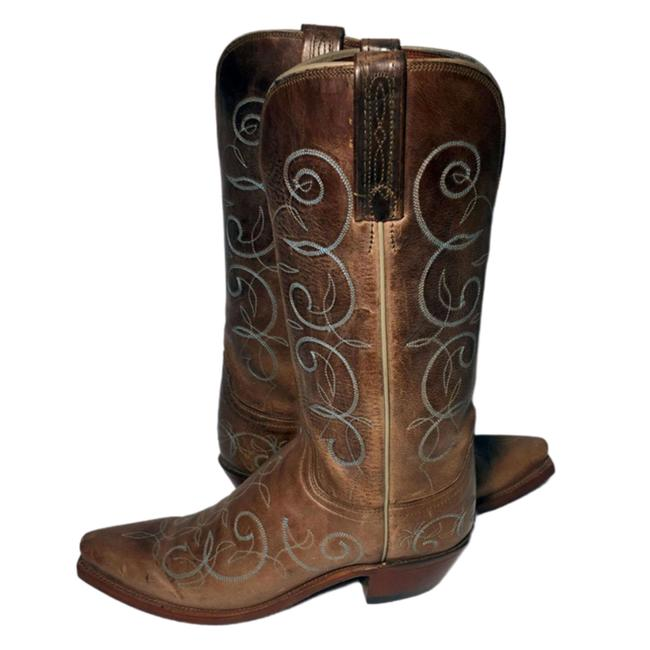 Item - Brown 1883 Leather Western Cowboy Cowgirl Women Boots/Booties Size US 7 Regular (M, B)