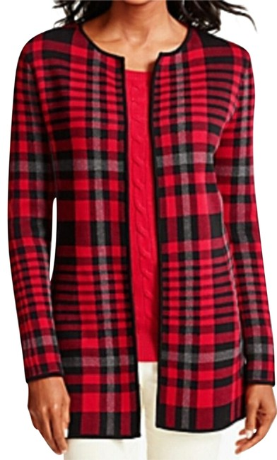 Talbots Classic Red Combo Plaid Bold Sweater 300986 Jacket Size 8 (M) Talbots Classic Red Combo Plaid Bold Sweater 300986 Jacket Size 8 (M) Image 1