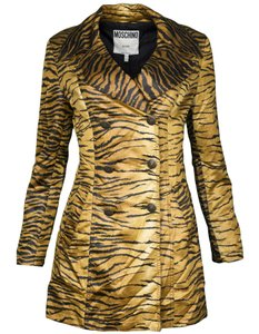 Moschino Tiger Print Satin Trench gold and black Jacket