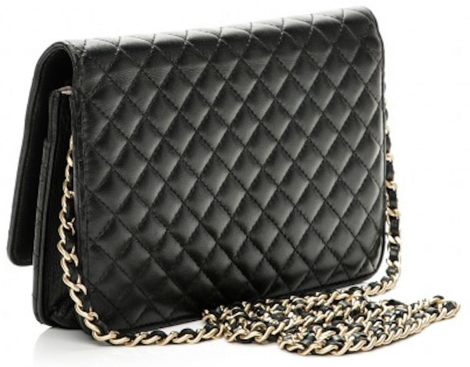 0834c56bcdfe Chanel Timeless Classic Flap Wallet On A Chain Woc Micro Quilted Cc Logo  Mini Black Lambskin Leather Cross Body Bag