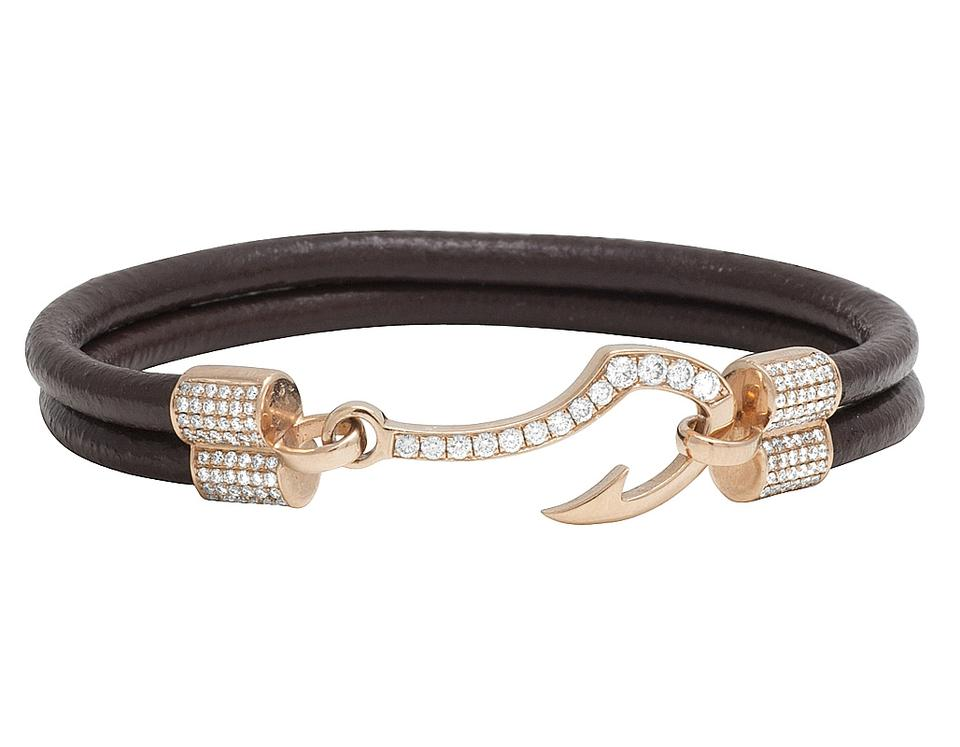 Jewelry Unlimited 14k Rose Gold Diamond Fish Hook Angkor Brown Leather Bracelet 8 5