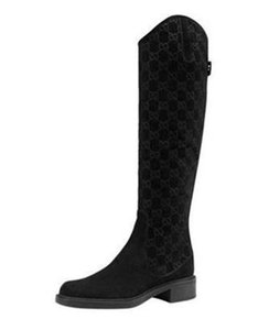 Gucci Knee High Guccissima Maud Riding Suede Black Boots