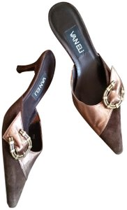 Vaneli Suede Leather Pointy Toe Brown & Copper Pumps