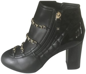 Chanel Cc Chain Quilted Black Boots