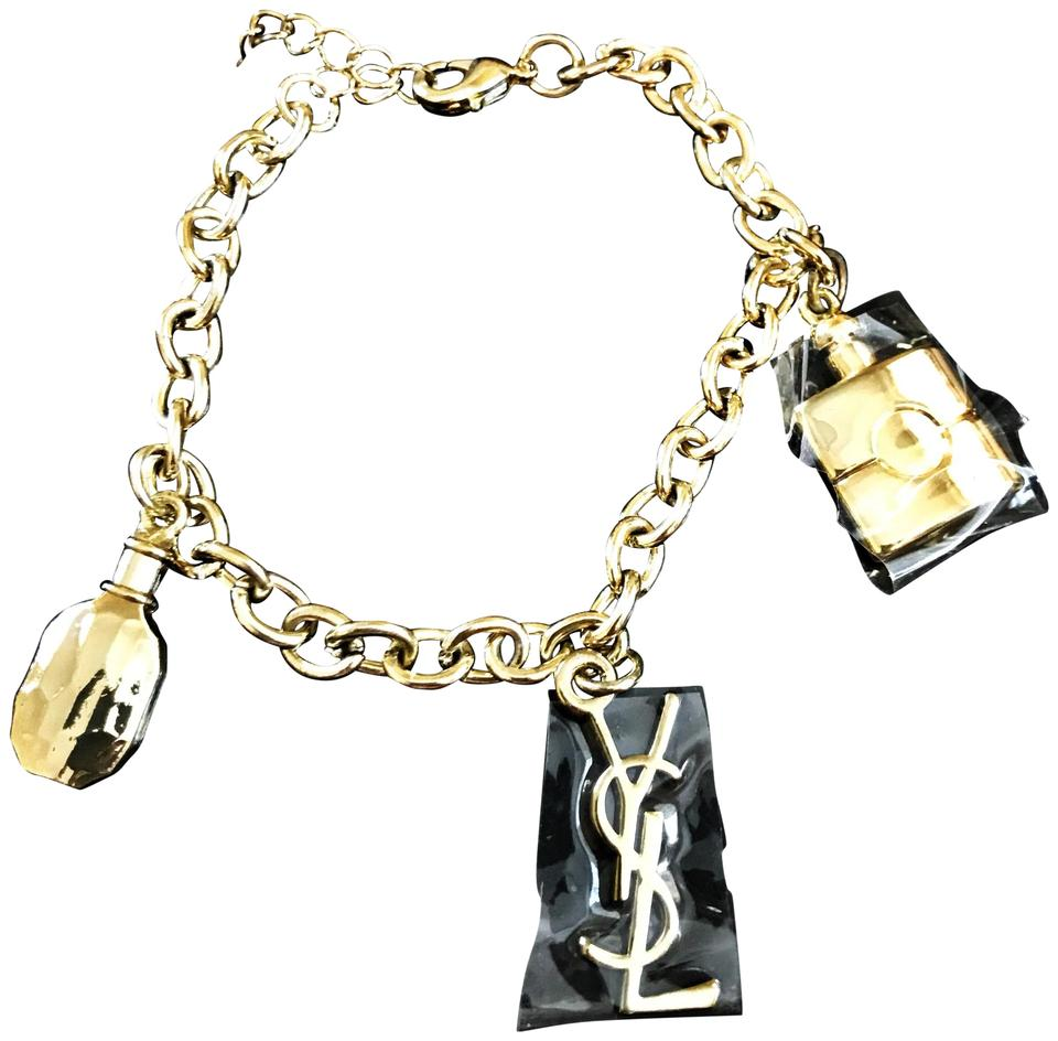 2dd6c739f78 Saint Laurent NIB Saint Laurent Gold YSL Charm Bracelet Image 0 ...