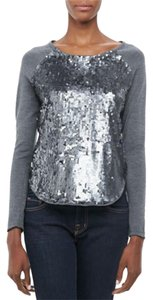 MILLY Knit Wool Raglan Baseball Sequin Top gray