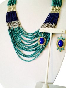 2 Piece Set Shades Of Blue Seed Bead Necklace & Earrings