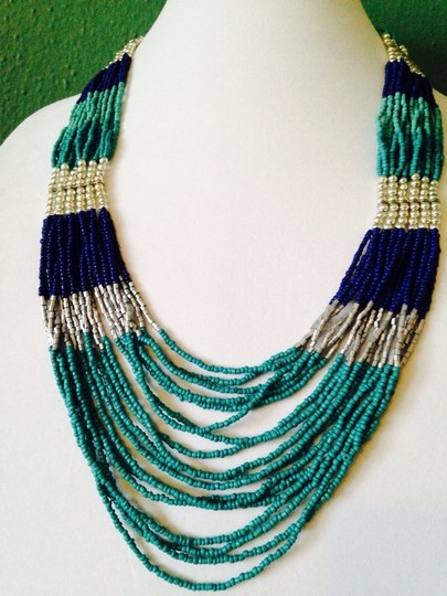 Other 2 Piece Set Shades Of Blue Seed Bead Necklace & Earrings