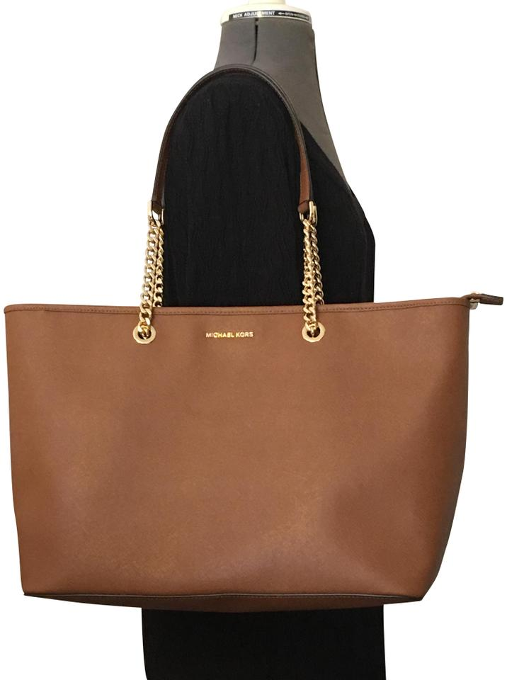 e3aa9c96111cb7 Michael Kors Leather Chain Straps Large Interior Jet Set Tote in Acorn/Gold  Image 0 ...