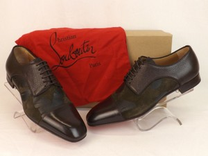Christian Louboutin Dark Brown Top Daviol Flower Suede Leather Lace Up Cap Toe Derby 42.5 Shoes