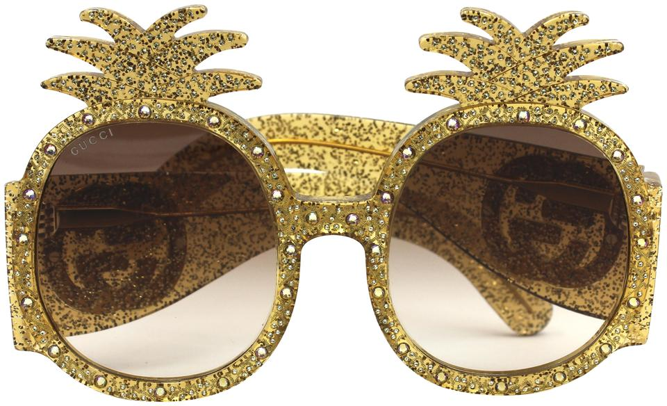 537a868d583 Gucci Brand New Gucci Pineapple Fashion Sunglasses GG0150S Gold Frame Image  0 ...