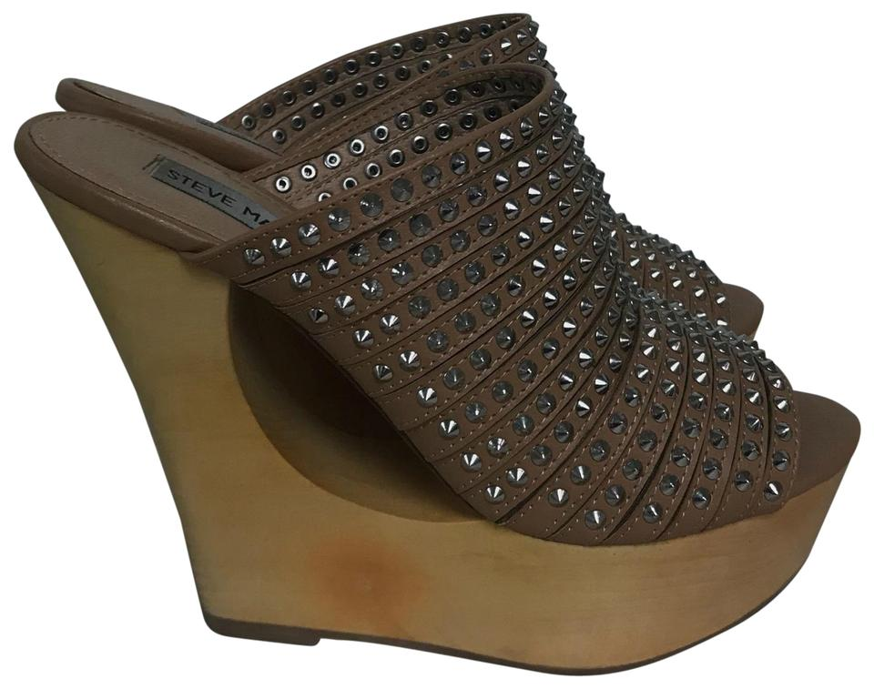 d5d41f32dec Steve Madden Taupe Studded Wooden Sandals M Platforms Size US 7.5 ...