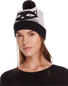 Kate Spade NWT KATE SPADE COOL CAT BEANIE WITH POM HAT IT SHALE BLACK CREAM
