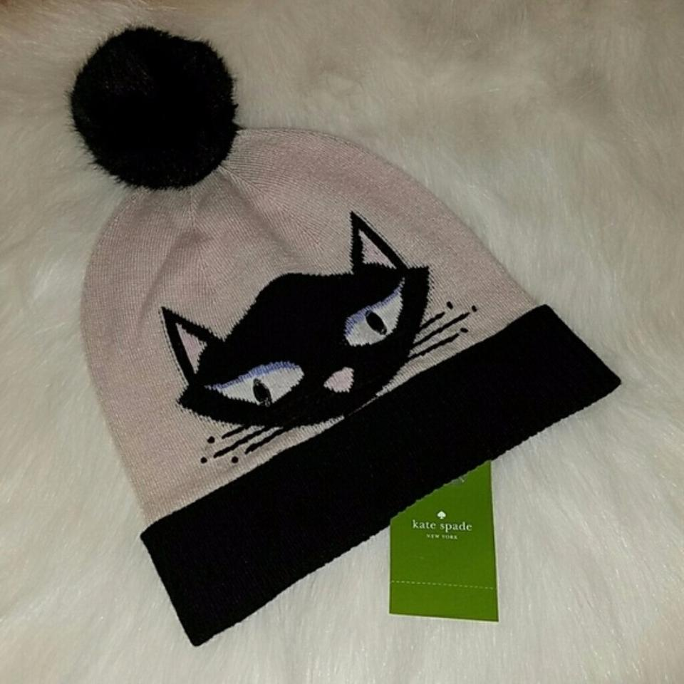 f97df1609 Kate Spade Black Cream Multi Cool Cat Beanie with Pom It Hat 66% off retail