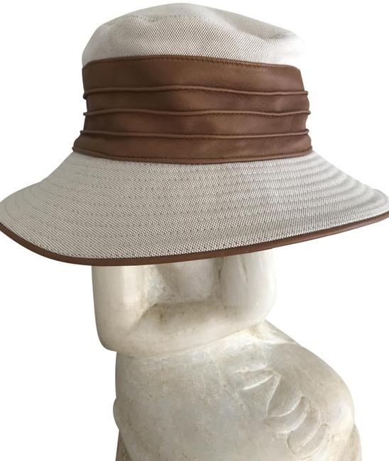 Item - Beige and Caramel Bucket Leather Trimmed Hat