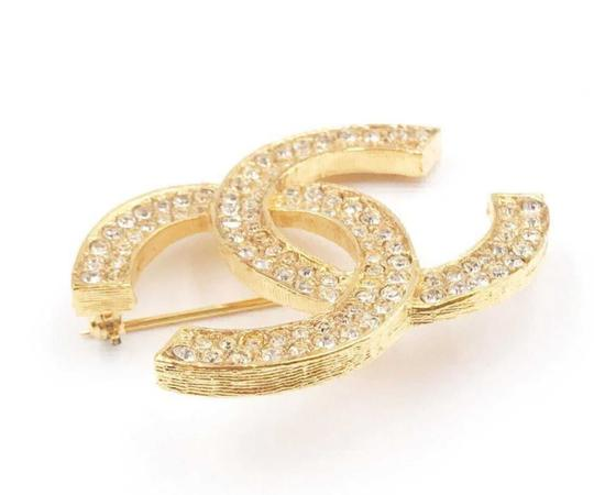 Chanel Chanel Vintage Classic 24K Gold Plated CC Silver Crystal Brooch Image 1