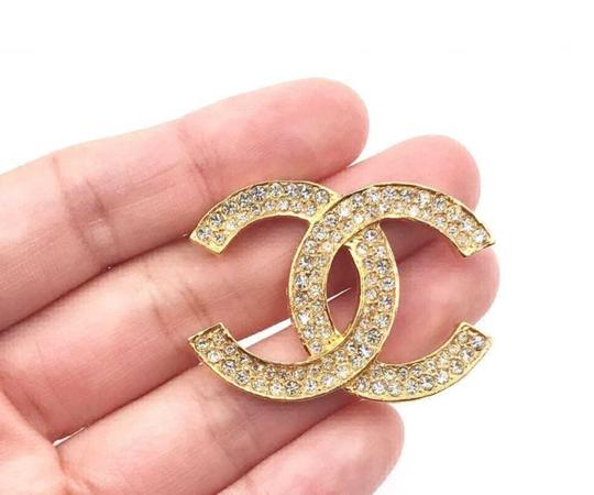 Chanel Chanel Vintage Classic 24K Gold Plated CC Silver Crystal Brooch Image 2