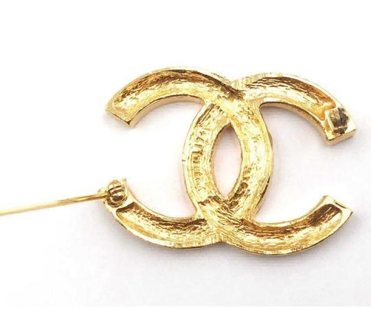 Chanel Chanel Vintage Classic 24K Gold Plated CC Silver Crystal Brooch Image 3