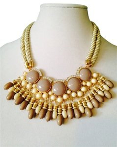 Other 2 Piece Set Neutral Shades Statement Necklace & Faceted Earrings