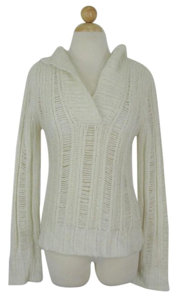 a75828f4ce Forever 21 Open Stitch Boho Hooded Knit Cream Sweater - Tradesy