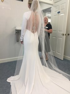 Sottero and Midgley White Talin Stretched Crepe Grayson/Arleigh Modern Wedding Dress Size 6 (S)