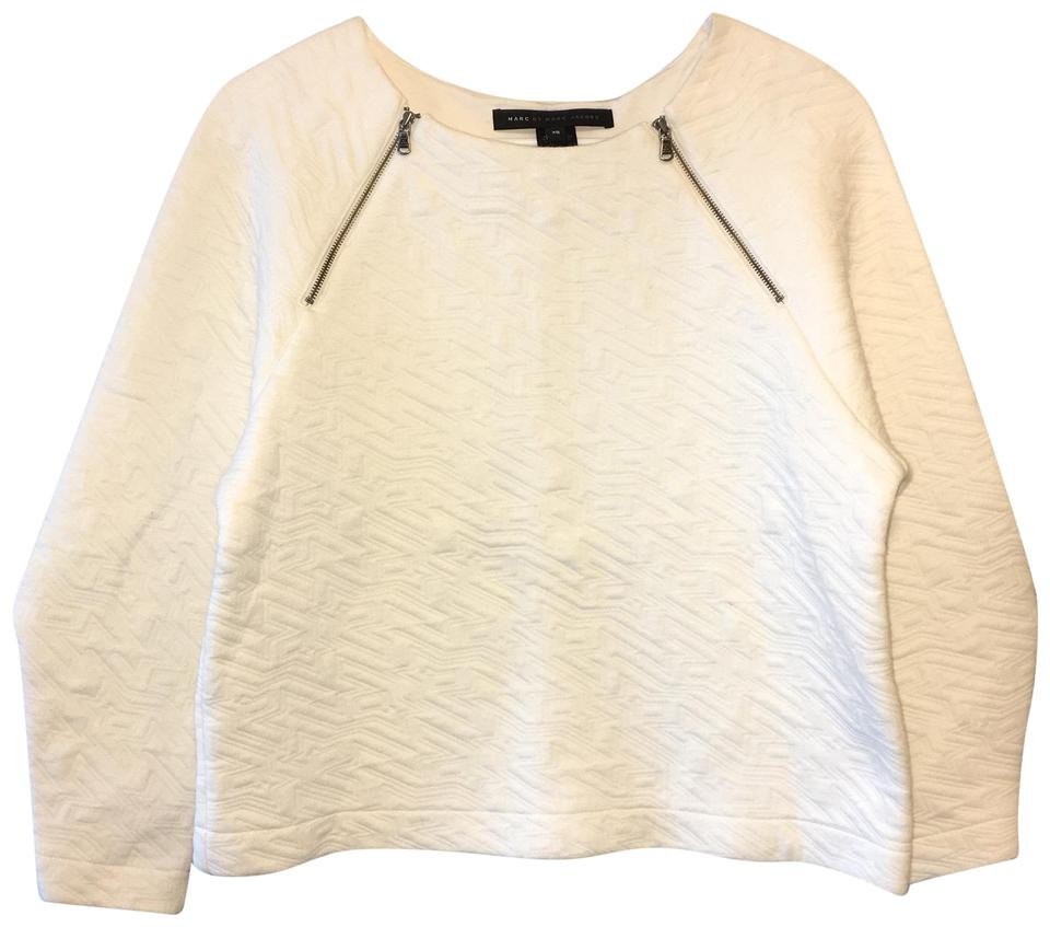 marc by marc jacobs white cleo quilted sweatshirt sweater pullover size 0 xs tradesy. Black Bedroom Furniture Sets. Home Design Ideas