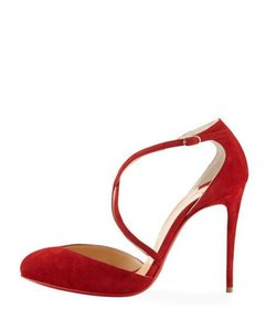 Christian Louboutin Ankle Strap Suede Tsarou Pompom Rougissime (Red) Sandals