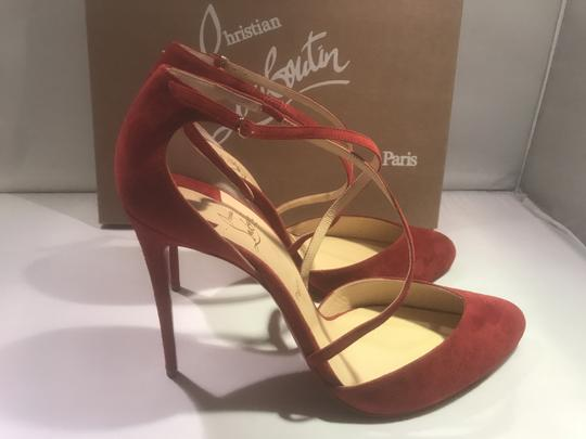 Christian Louboutin Ankle Strap Suede Tsarou Pompom Rougissime (Red) Sandals Image 3