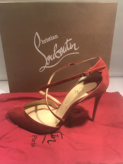 Christian Louboutin Ankle Strap Suede Tsarou Pompom Rougissime (Red) Sandals Image 4