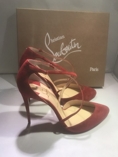Christian Louboutin Ankle Strap Suede Tsarou Pompom Rougissime (Red) Sandals Image 6