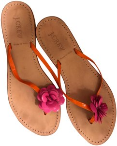 J.Crew Flip Flop Flower Leather hot pink and orange Sandals