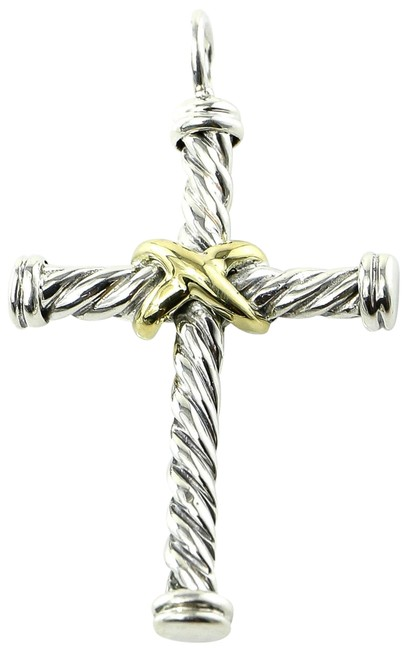 Item - * Gold and Silver Cable Classic Cross Pendant Charm