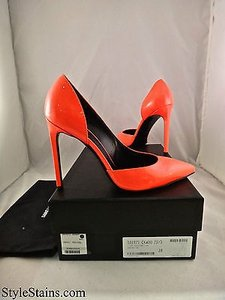 Saint Laurent Ysl Paris Dorsay Fluo Neon Patent Leather Orange Pumps