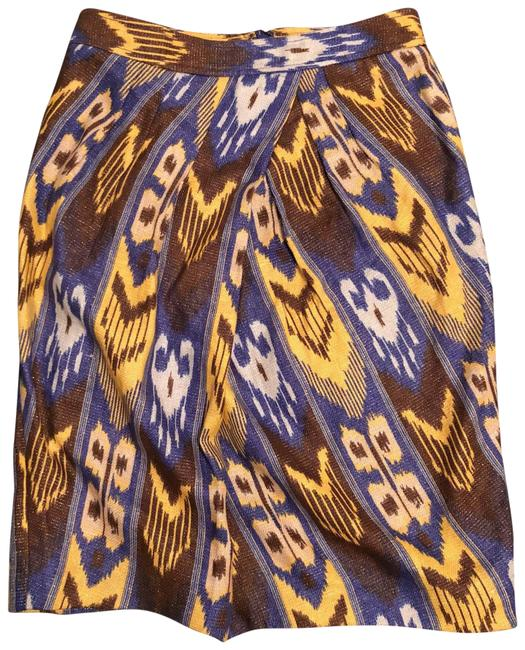 Item - Blue Yellow Brown Gold Pencil Skirt Size 4 (S, 27)