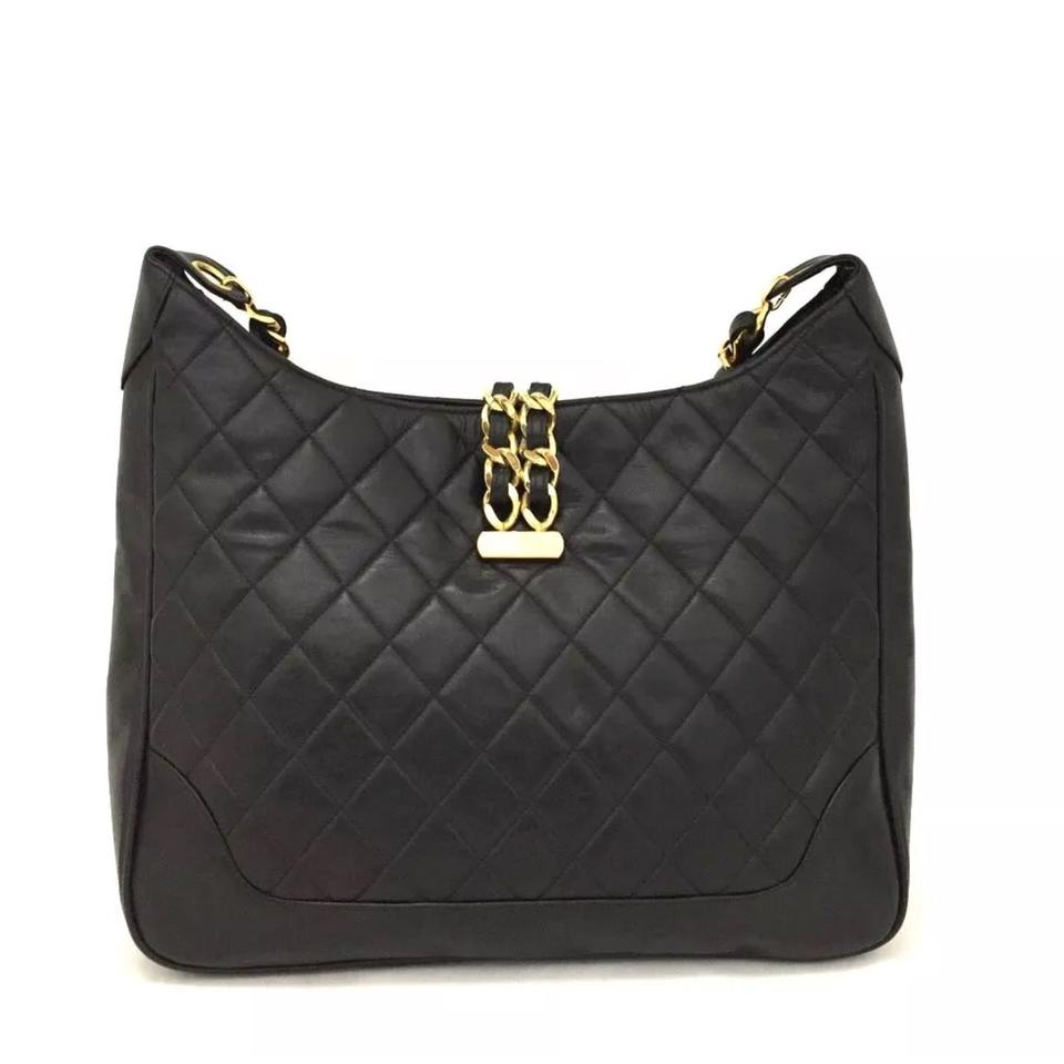 dc80a74c97b3 Chanel Hobo Quilted Matelasse Cc Logo Lambskin Chain Black Leather Shoulder  Bag
