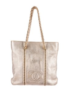 Chanel Timeless Gst Cc Logo Luxe Ligne Luxury Line Tote in Metallic Gold