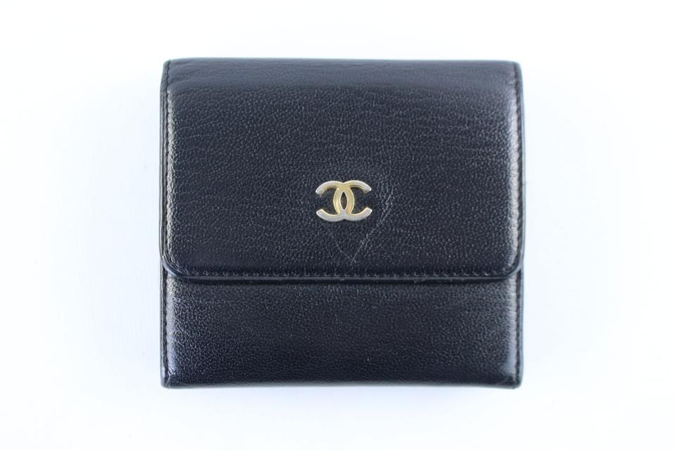 78fb9ccad700 Chanel Square Compact Cc Logo Wallet 224661 Black Leather Clutch ...