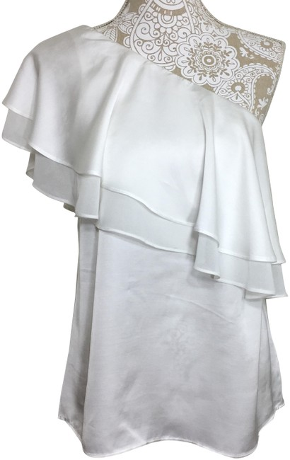 Item - Ivory Ruffle Tiered One Shoulder Blouse Size 6 (S)