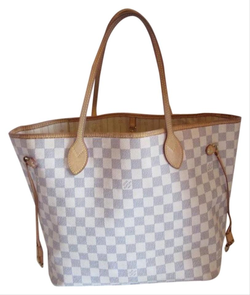 ea79f646626 Louis Vuitton Neverfull Mm Damier Azur White Canvas Leather Tote 11% off  retail