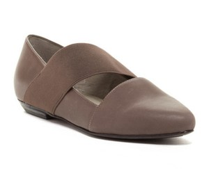 Eileen Fisher Comfy Mary Jane Easy Slip On Styling Stretch Instep Supple Leather Gray Flats