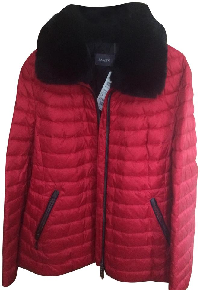 5a73664d7bf1 Basler Red Puffer with Removable Rabbit Fur Collar Jacket Size 12 (L ...