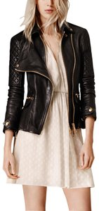 Burberry Moto Biker Leather Ribbed Quilted Motorcycle Jacket