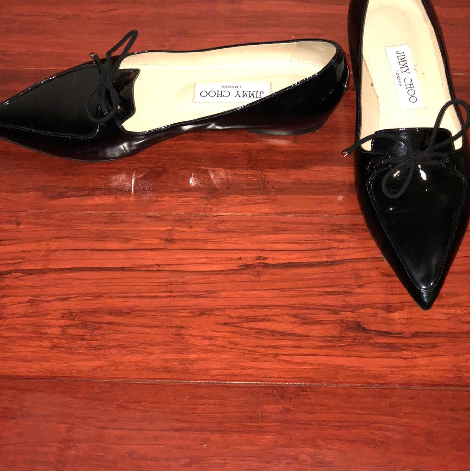 6274cec9a4a Jimmy Choo Black Genna Patent Pointy Toe Flats Size US 7 Regular (M ...