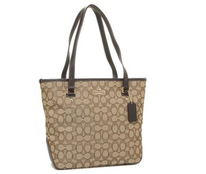 Coach Zip Top City City Tote in brown khaki