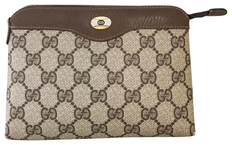 11194eddac493 Gucci Brown Pouch Pvc Gg Web Canvas Leather Mini Make Up Cosmetic Bag 77%  off retail